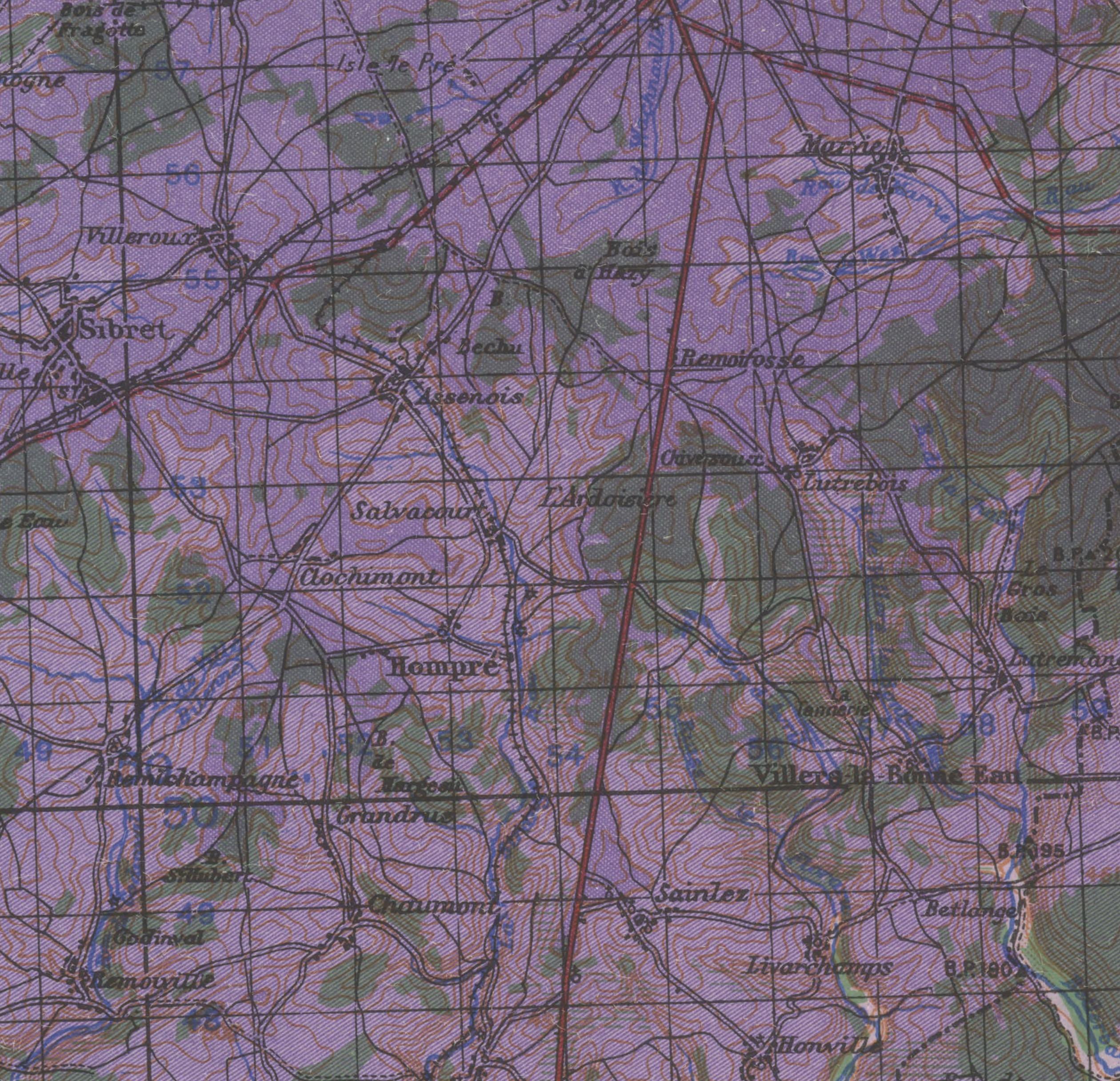 US Army Map Assenois 1944