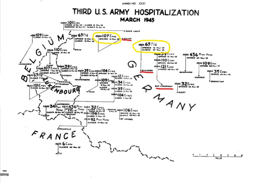 Third Army AAR Map Hospitals March 1945