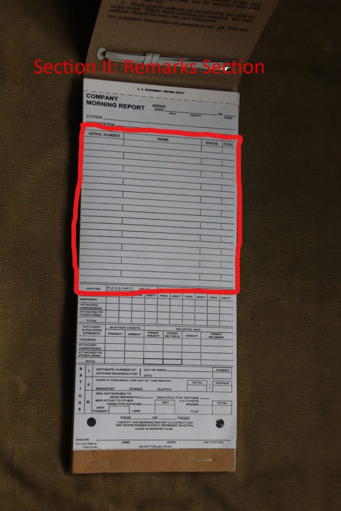 Company Morning Reports Sheet Section 2