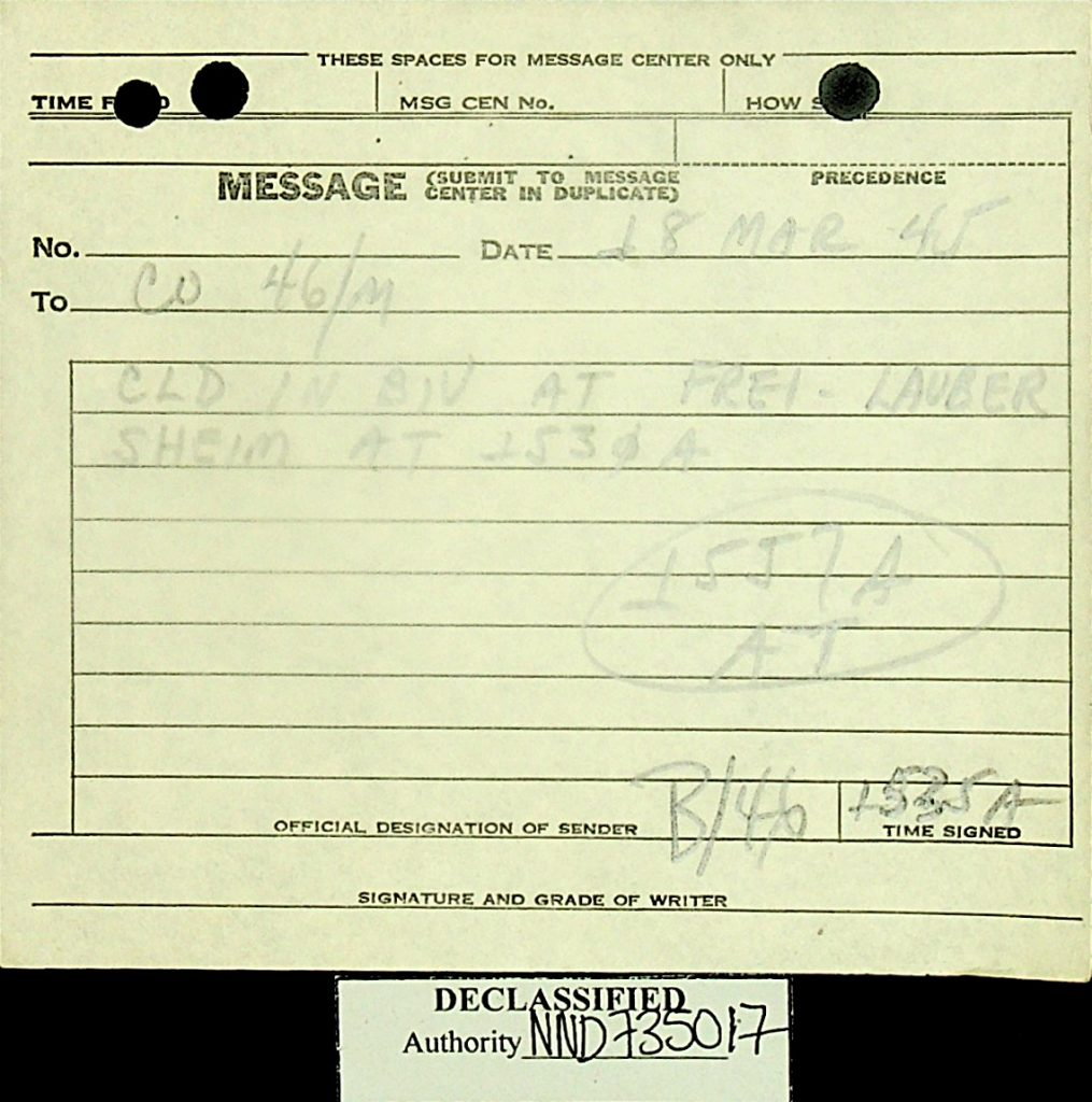 Message March 1945 B/46 bivouac