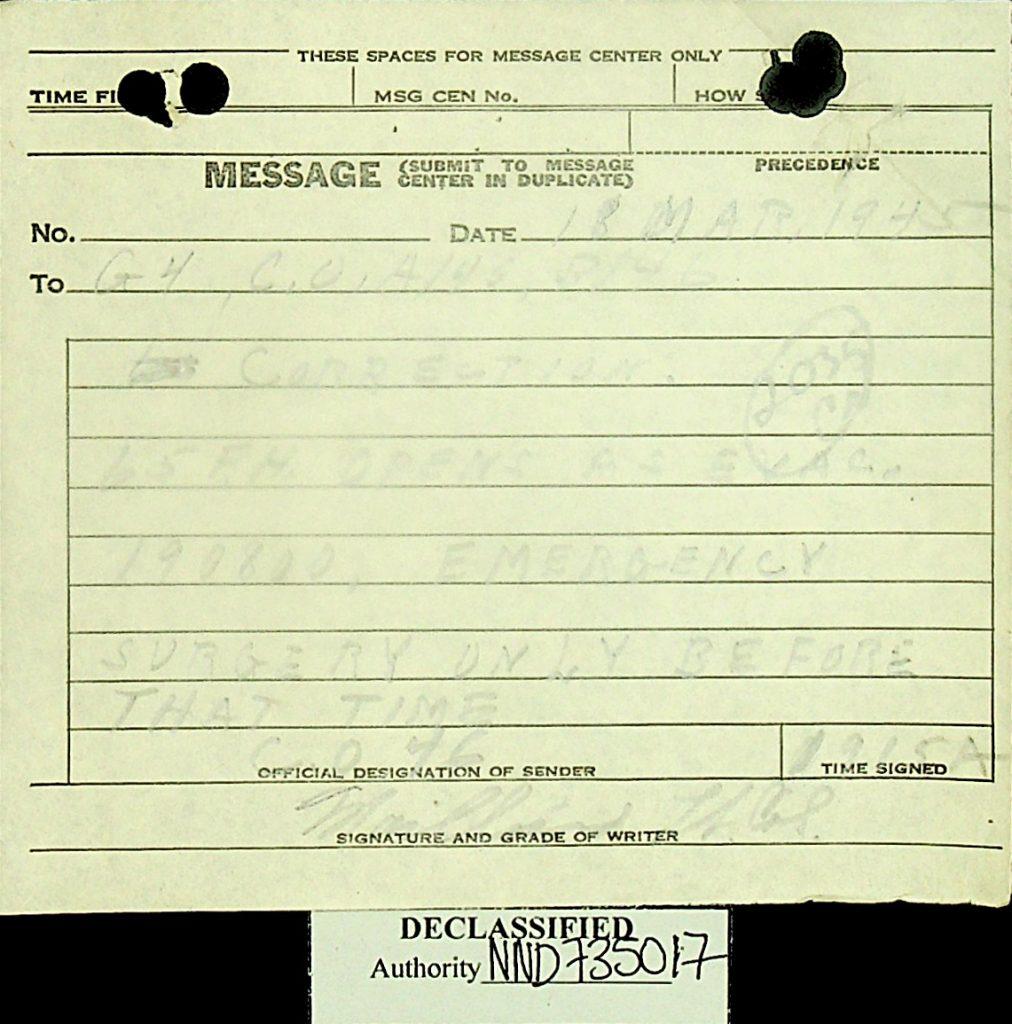 Message March 1945 65thField Hospital