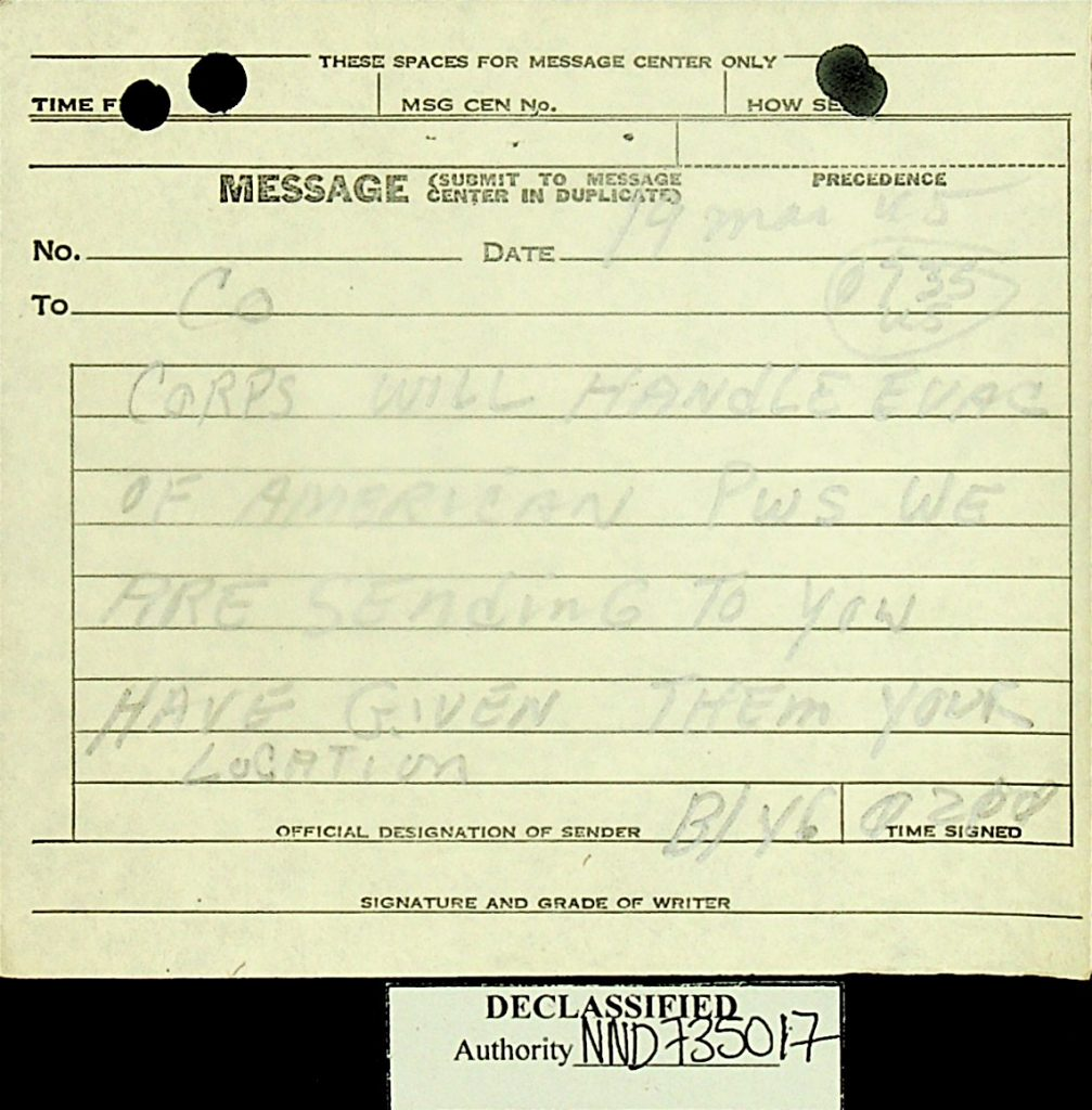 Message March 1945 B/46 American POWs