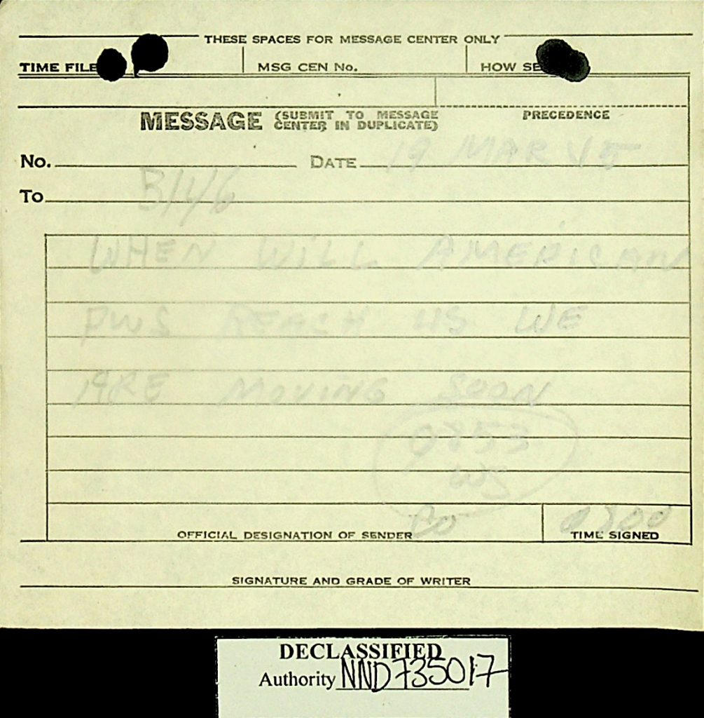 Message American POWs March 1945