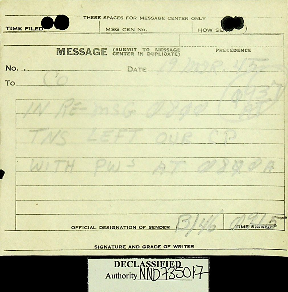 Message March 1945 American POWs