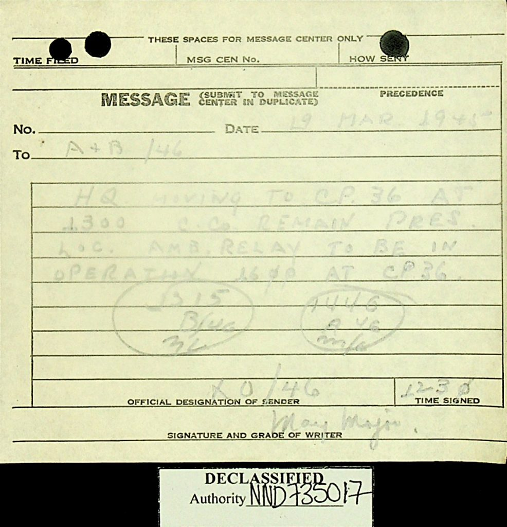 Message March 1945 Move 46th AMB
