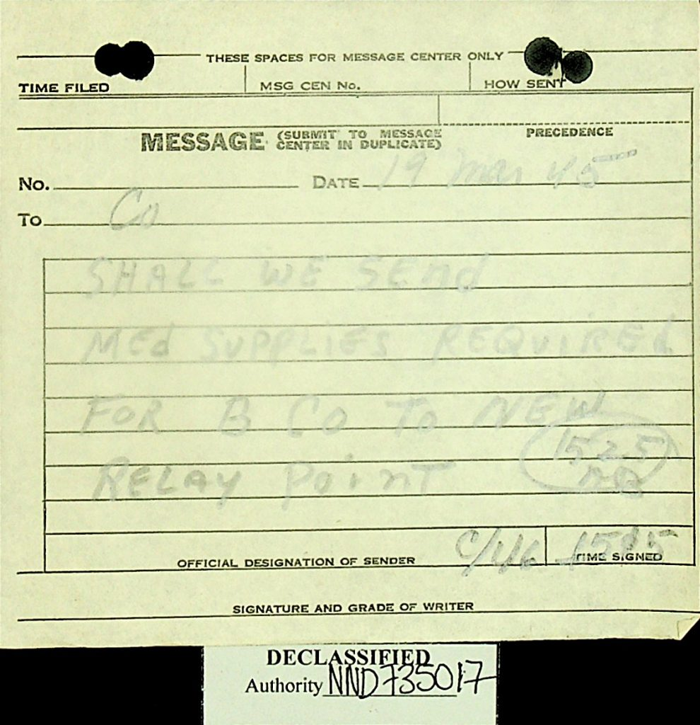 Message March 1945 Medical Supplies