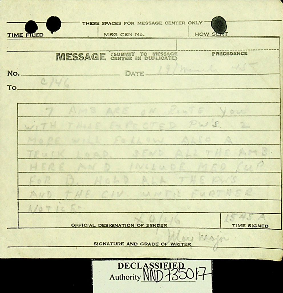 Message March 1945 ambulances American POWs