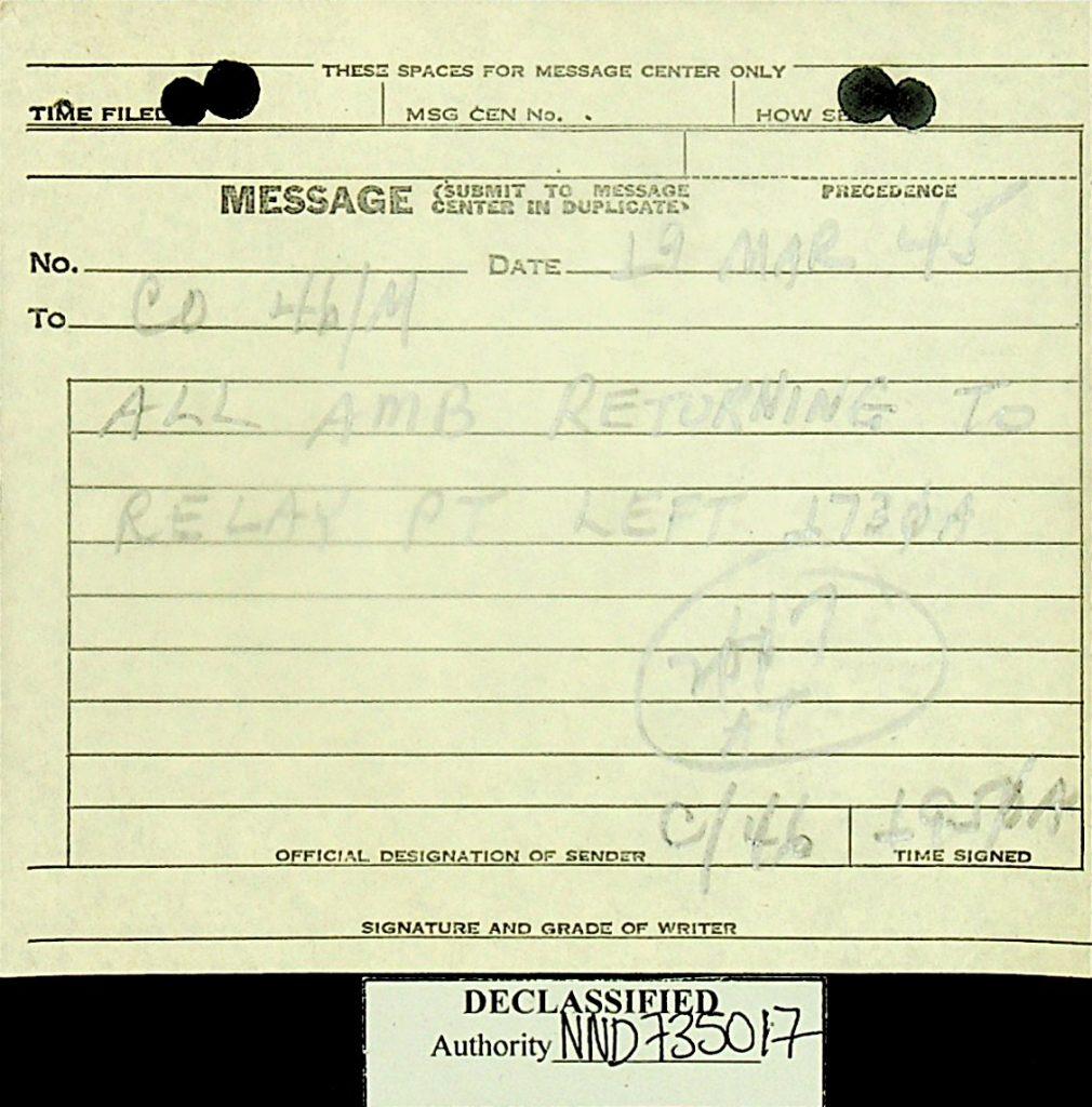 Message March 1945 ambulance