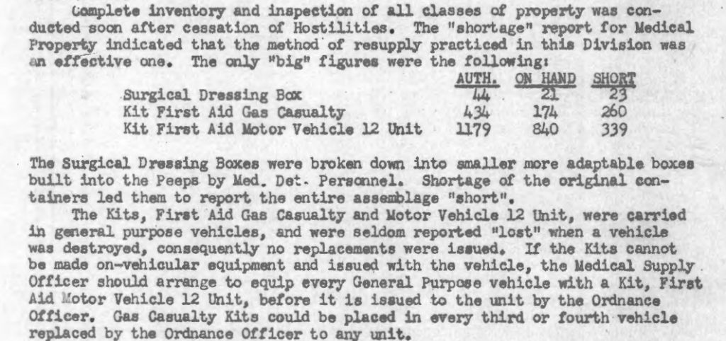 46thAMB Supply Report 1945 first aid kit section