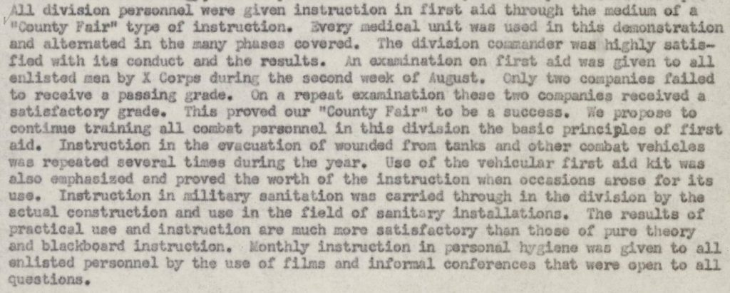 Activity Report Division Surgeon 1943 - page 4 First Aid