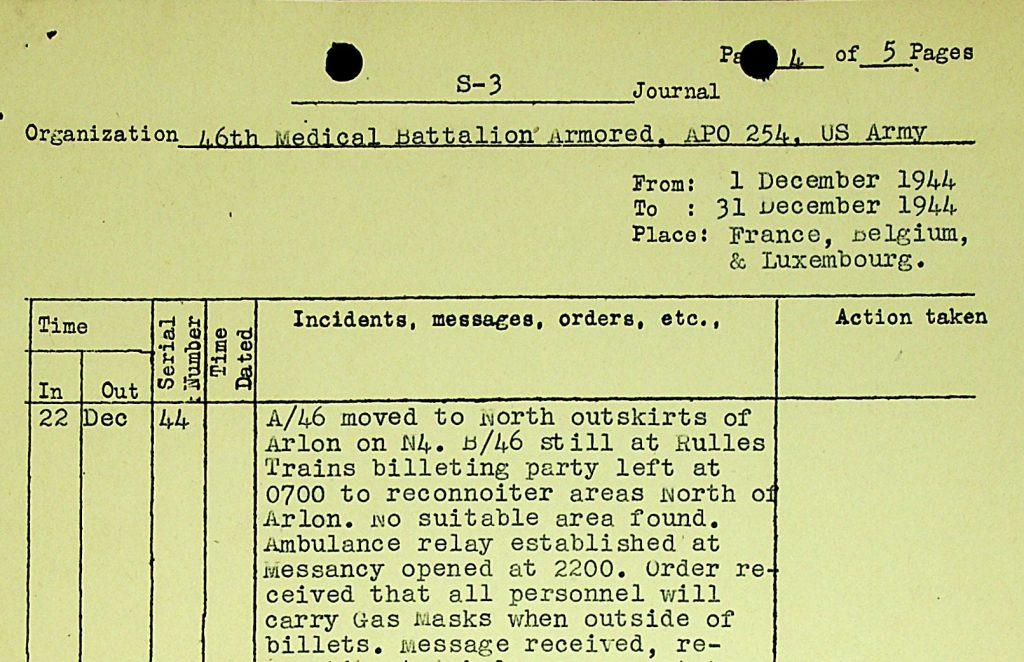 46thAMB S-3 Journal December 1944 Gas Masks