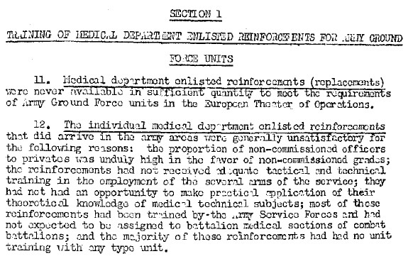 General Board 1945 training status of medical personnel in ETO-8
