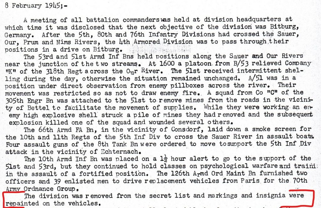 4th AD Combat History February 8th, 1945