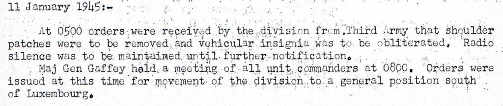 4th AD Combat History Jan 11th, 1945