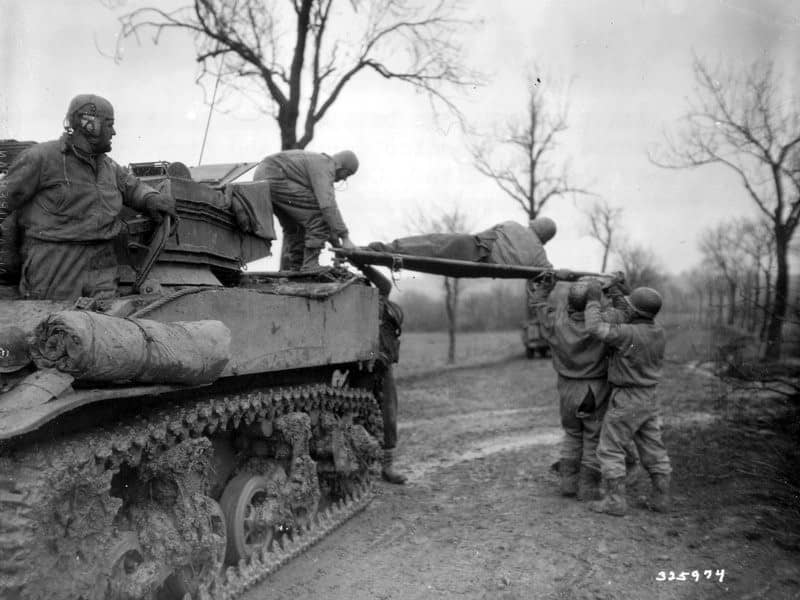 Evacuating Casualties Stuart Tank Lorraine November 1944-min