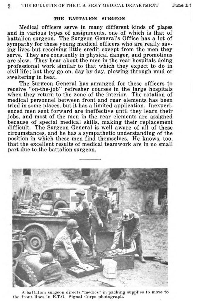 Bulletin US Army Medical Department - June 1945, page 2 Battalionn Surgeon