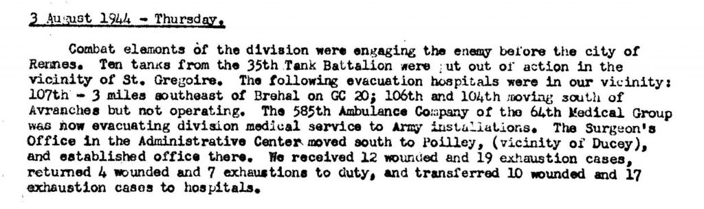 Division Surgeon Journal 1944-585th Ambulance Co