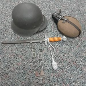 George Ehnes Souvenirs: German helmet, canteen and dagger