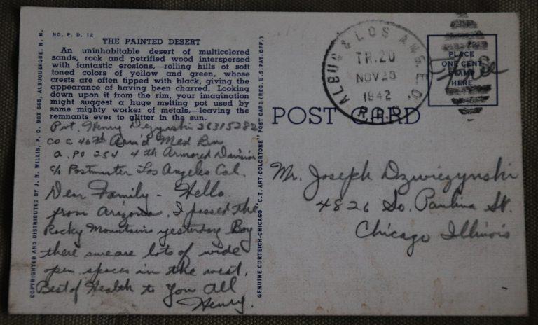 Henry Dezynski Postcard November 1942 back