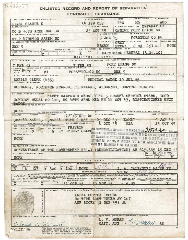 Kimel Honorable Discharge.1