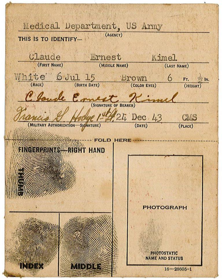 Kimel Red Cross Identification Card.2