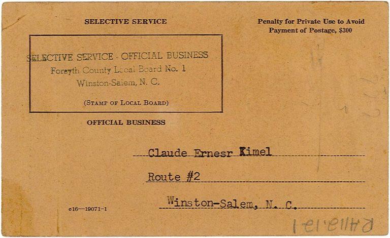 Kimel Selective Service Card.1