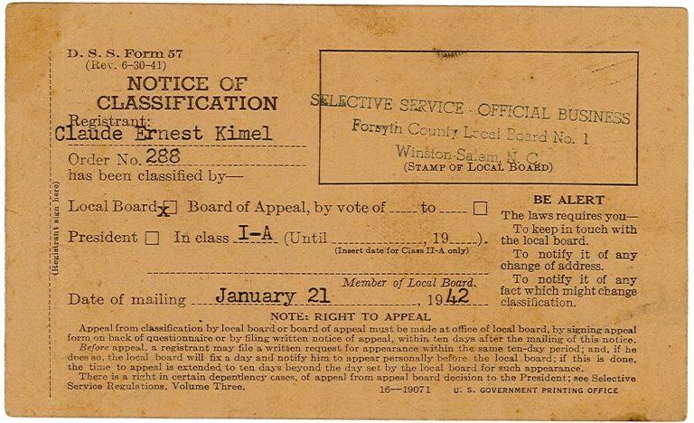Kimel Selective Service Card.2